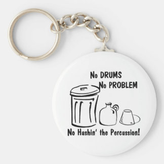 No Hushin the Percussion Basic Round Button Key Ring