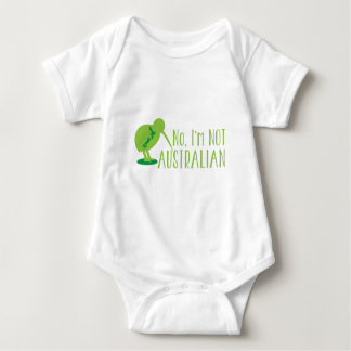 No, I'm NOT AUSTRALIAN (with kiwi bird and map) Baby Bodysuit