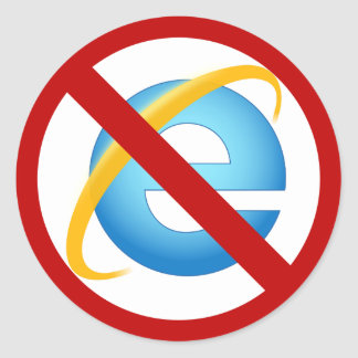 No Internet Explorer Sticker (Solid Stroke)