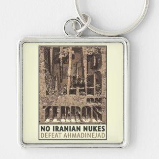 No Iranian Nukes Silver-Colored Square Key Ring