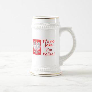 No Joke I'm Polish 18 Oz Beer Stein