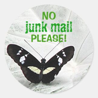 NO junk mail PLEASE Round Stickers