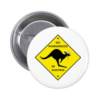 No kangaroos in Austria! 6 Cm Round Badge