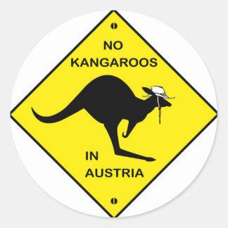 No kangaroos in Austria! Round Sticker