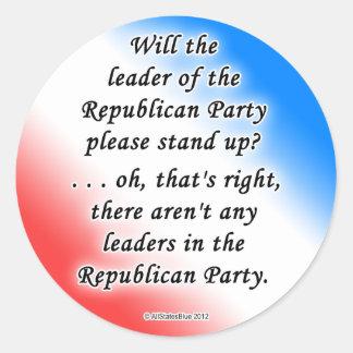 No Leaders In The GOP Round Sticker