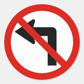 No Left Round Sticker