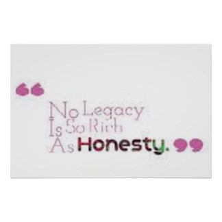"""No legacy is so rich as honesty."" Shakespeare Poster"