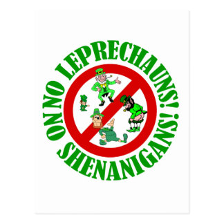 No leprechauns, no shenanigans postcard