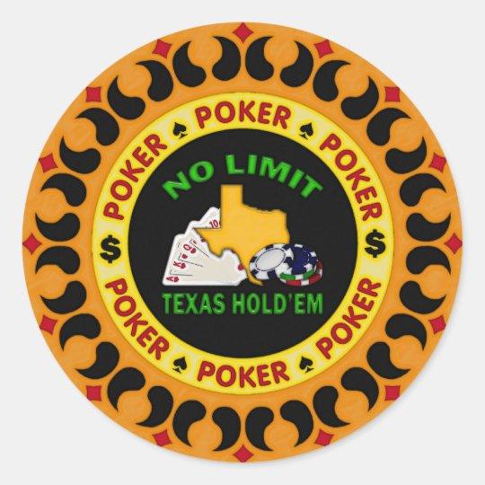 No Limit Texas Hold'em Poker Chip Classic Round Sticker