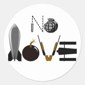 No Love Weapons Classic Round Sticker