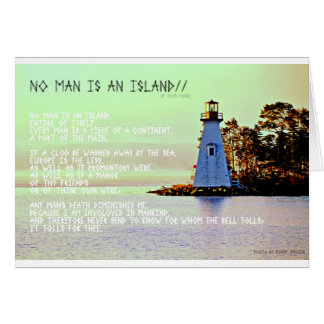 No Man is an Island, by John Dunne Greeting Card