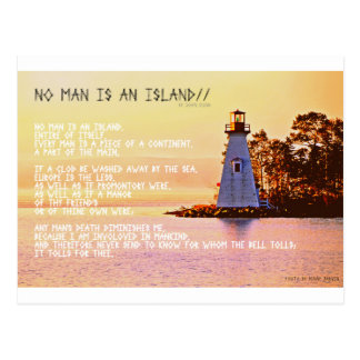No Man is an Island, by John Dunne. Postcard