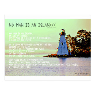 No Man is an Island, by John Dunne Postcard