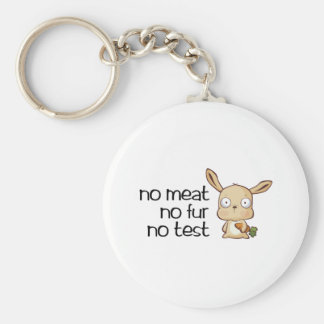 No meat No fur No test Basic Round Button Key Ring
