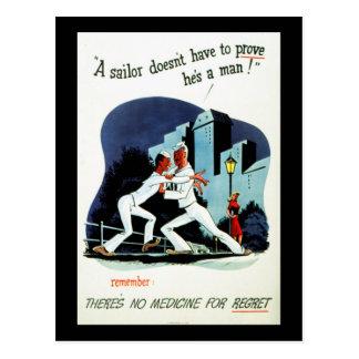 """""""No Medicine For Regret"""" WWII VD Health Warning Postcard"""