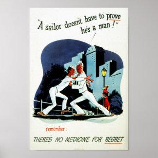 """No Medicine For Regret"" WWII VD Health Warning Poster"