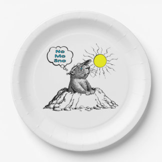 No Mo Sno Groundhog Day Party Paper Plate 9 Inch Paper Plate