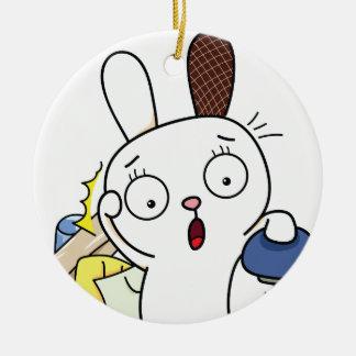 No money Bunny! Round Ceramic Decoration