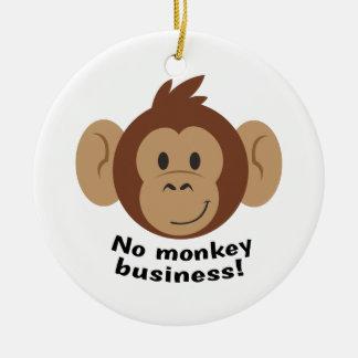 No Monkey Business Round Ceramic Decoration