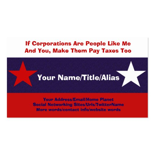 No More Corporate Welfare Business Card