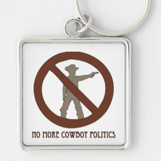 No more Cowboy Politics Silver-Colored Square Key Ring