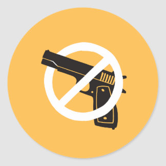 No More Guns (stickers - yellow) Classic Round Sticker