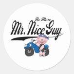 No More Mr. Nice Guy Biker Round Stickers