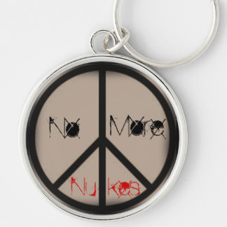 No More Nukes-Ban the Bomb Peace Sign Silver-Colored Round Key Ring