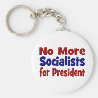 No More Socialists for President Key Chain, red Basic Round Button Key Ring