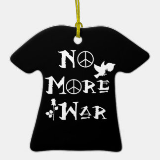 No More War Double-Sided T-Shirt Ceramic Christmas Ornament