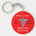 No MRI Medical Alert CRPS/RSD Medications Keychain