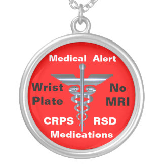 No MRI Medical Alert CRPS/RSD Medications Silver Plated Necklace