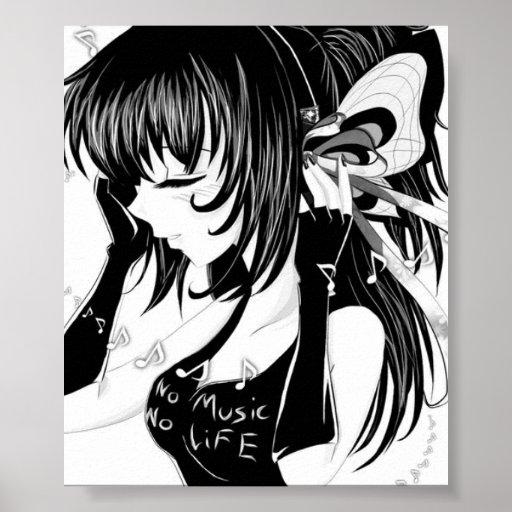 No Music Life Anime Girl Poster