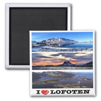 NO - Norway - Lofoten  - I Love - Collage Mosaic Square Magnet