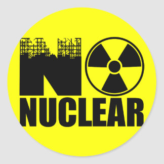 NO NUCLEAR MONO ROUND STICKER