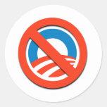 """NO """"O"""" / No Obama Classic Round Sticker"""