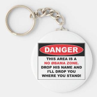 No Obama Zone Basic Round Button Key Ring