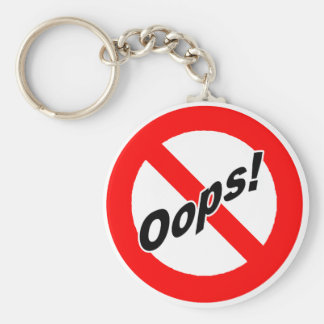 No Oops-ing Zone Basic Round Button Key Ring