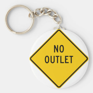 No Outlet Highway Sign Key Ring