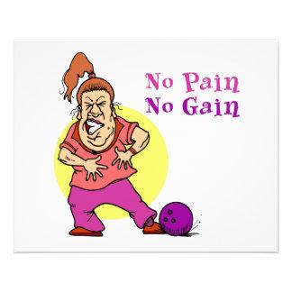 no pain no gain funny bowling design 11.5 cm x 14 cm flyer