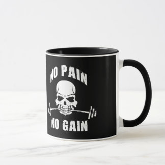 No Pain No Gain - Skull and Barbell - Motivational Mug