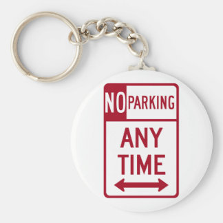 No Parking Any Time Road Sign Basic Round Button Key Ring