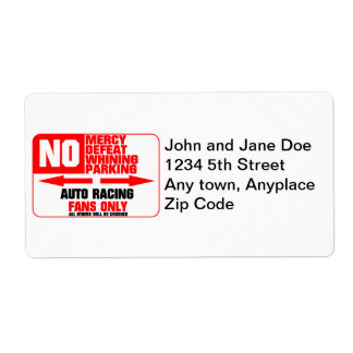 No Parking Auto Racing Sign Shipping Label