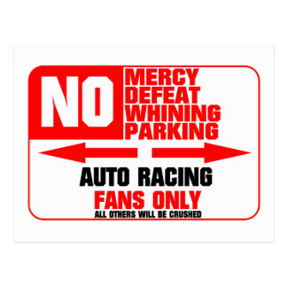 No Parking Auto Racing Sign Postcard
