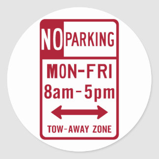 No Parking M-F 8-5 Road Sign Round Stickers
