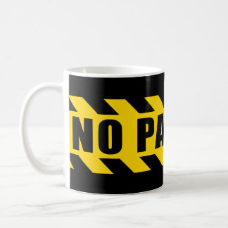 No Parking Police Hazard Tape Black Yellow Stripes Basic White Mug