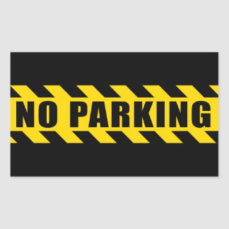 No Parking Police Hazard Tape Black Yellow Stripes Rectangular Sticker