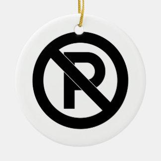 No Parking Symbol Round Ceramic Decoration