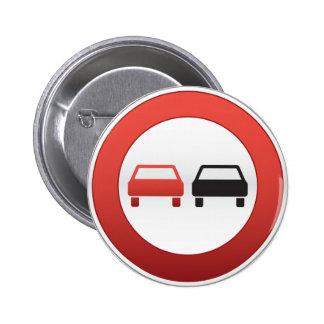 No passing road sign 6 cm round badge