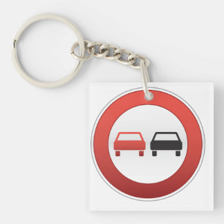 No passing road sign Double-Sided square acrylic key ring